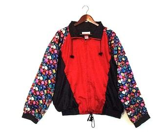 Vintage floral colorblock nylon rhoda lynne windbreaker jacket