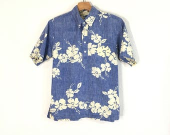 80's vintage reyn spooner button down pullover hawaiian aloha shirt made in usa