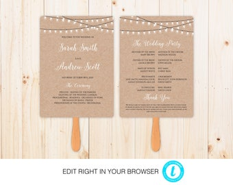 Rustic Wedding Program,Printable Ceremony Template, Wedding Program Printable, Instant Download,Fully Editable