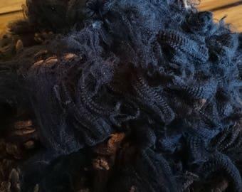 BLACK Coloured Merino Fleece, Coated Fleece, EWE Fleece, Raw Wool, Australian Merino, Natural Colour, Unprocessed, 250 Gram Bags