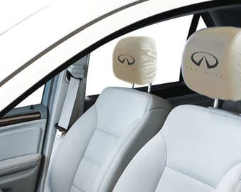 Infiniti Car/SUV White Headrest Covers