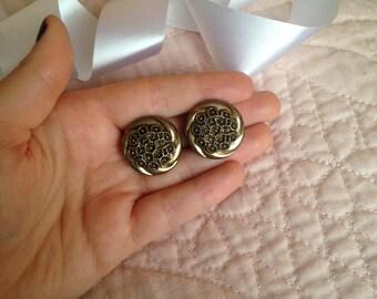 Vintage Earrings - Clip on Earrings - Bronze Earrings - Intricate Earrings - Earrings with Detail - Clip Earrings - Antique Earrings - Gift
