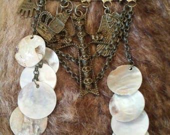 Long gothic brass brooch pin/bag charm