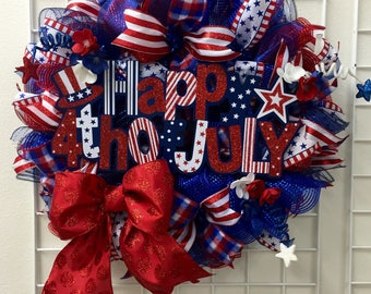 SALE!!! 15% Off! Fourth of July Deco Mesh Wreath, Indepedence Day Wreath, 4th of July Deco Mesh Wreath, Red, white and blue wreath