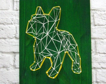 String Art Dog Year Dog Wood Home Decor Dog Wall Art Dog Picture Animal Unique Gift String Art Dog Signs Dog Art Template Dog Pattern Dog