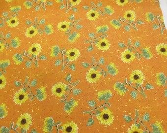Orange Sunflowers Floral Printed 100% Cotton Craft Fabric.