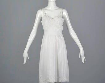 SALE Small White Cotton Lingerie Full Slip Vintage 1960s 60s Intimates Underwear Eyelet Undergarment Adjustable Straps