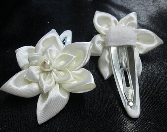 Ornated Barrette with two flowers in ivory satin for wedding or...