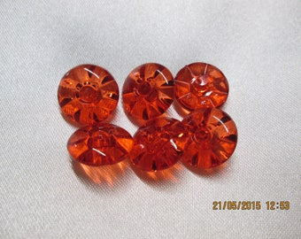 set of 6 buttons transparent red