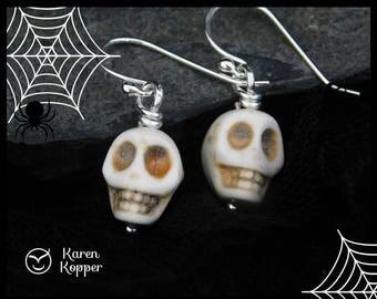 Sugar skull earrings, white howlite skulls, Argentium Sterling silver (0.935). Halloween, Day of the Dead, Ready to ship! 160