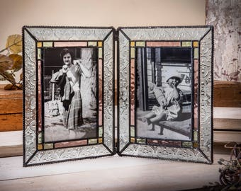 4x6 Double Picture Frame Stained Glass Picture Frame 4x6 Photo Frame Vintage Frame Keepsake Wedding Frame Holds 2 Photos Gift Pic 137-46-2