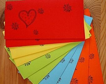 "Set: 10 colourful envelopes, ""Matter Of The Heart"""