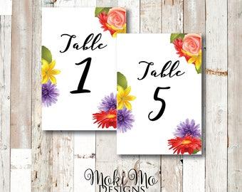 "Flower Table Numbers  1-20 / Printed / 4""X6"""