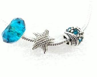 Starfish Ocean Summer Charm Beads Set Fit Pandora European Bracelets