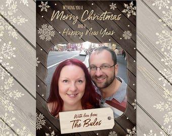 Rustic Christmas Card, Christmas Photo Card, Personalised Xmas Card, Custom Festive Card, Rustic Holiday Cards, Personalised Photo Card