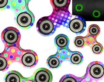Fidget Spinner Custom Print Glow in Dark Tri Gyro Metal Ball Bearing Toy Gift / Rainbow Dancing Light Colorful Dots Teal Blue Pink Purple