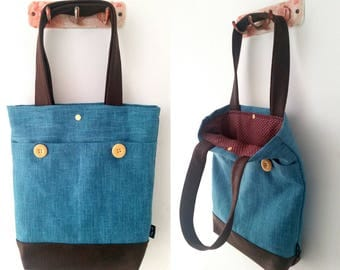 Tote bag, shoulder bag, vegan bag, Handbag, Beach Bag, summer bag, Everyday bag, canvas handbag, canvas tote, blue bag, blue handbag
