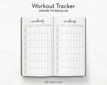 Standard TN, Workout Tracker, Travelers Notebook, Workout Planner, Fitness Tracker, Workout Log, Bullet Journal, Health Planner, Midori
