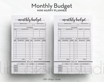 Monthly Budget, MINI Happy Planner, Budget Planner, MINI MAMBI, Financial Planner, Income Tracker, Expense Tracker, Planner Printable