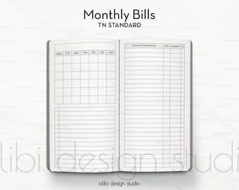 Standard TN, Bill Tracker, Travelers Notebook, Monthly Insert, Midori Insert, Finance Insert, Monthly Bill Tracker, TN Insert, Budget Insert