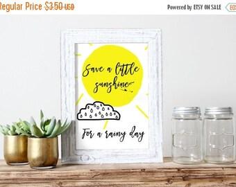 SALE Sunshine For A Rainy Day Poster Art Gift for Her Sunshine Print Printable Poster Nursery Art Printable Digital Illustration Girls Room