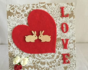 Valentine's Day card/gift. Original mixed media collage,great for framing,wife,girlfriend