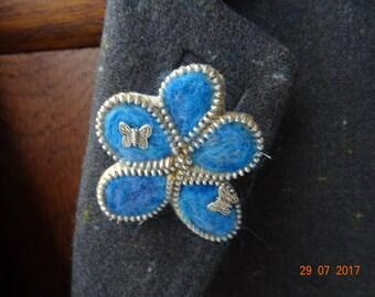 Handmade Needle Felted Blue FlowerBrooch