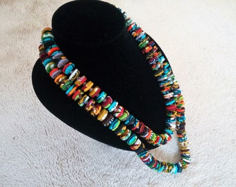 240 - Piece Button and Bead Ankara/Kente Layer Necklace WITH matching drop earrings