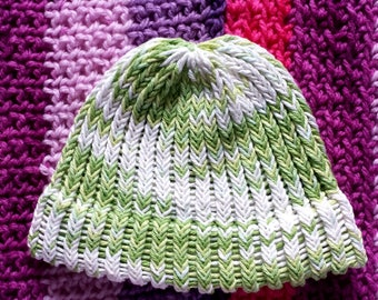 Handmade Baby Hat in White and Green