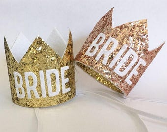 Bachelorette Crown Silver and Gold, Bachelorette Party Hat, Bride to Be Crown, Bride Crown, Bride Gift, Bridal Shower Crown, MOH Maids Hat