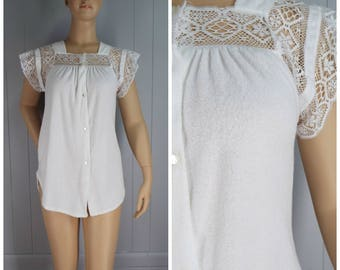 vintage womens 1970s white terry cloth robe cover up with lace sleeves and trim - Terry Cloth Robe