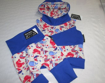Set of scalable shorts and chamdail a hoodie sleeveless size 12-24 m and 24-36 m
