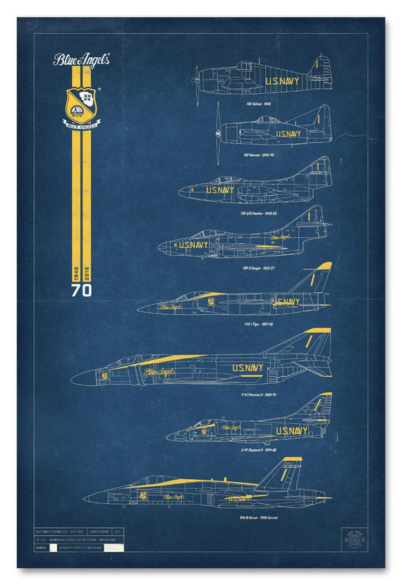Blue Angels Chronology Print - Blue Print - Limited Edition