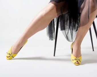 Yellow flats, Yellow wedding shoes, Yellow shoes, Wedding shoes, Peep toe, Party shoes, Peep toe flats, bridesmaid shoes