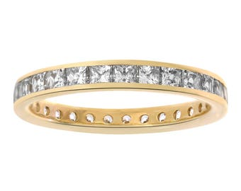 2.00 ctw Princess Cut CZ Eternity Wedding Band in 14K Yellow Gold