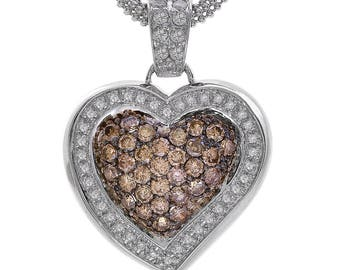 2.00 Carat Round Cut Diamond Heart Pendant Necklace 14K White Gold