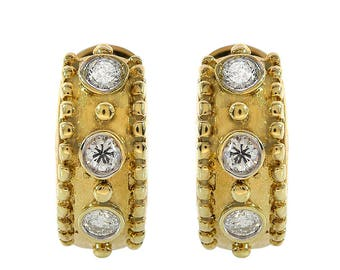 0.45 Carat Round Cut Diamond Huggie Earrings 14K Yellow Gold