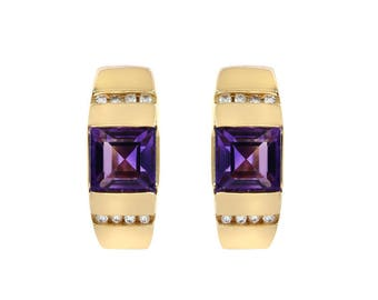 3.50 Carat Amethyst And 0.16 Carat Diamond Earrings 14K Yellow Gold