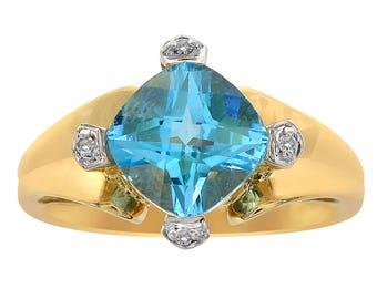 2.90 Carat Cushion Cut Blue Topaz & 0.04 Carat Diamond Ring 14K Yellow Gold
