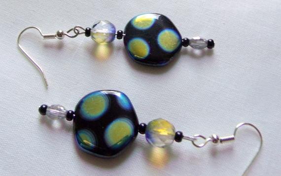 Lime aqua dot earrings - metallic finish - oval frame earrings - long dangle look - helix - hexagon beads - blue two tone  crystals - gift