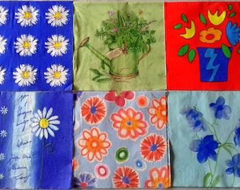 Paper napkin for decoupage, 6 pc napkin set, decoupage serviettes, paper napkins, floral napkins, floral serviettes, art&craft, flower art