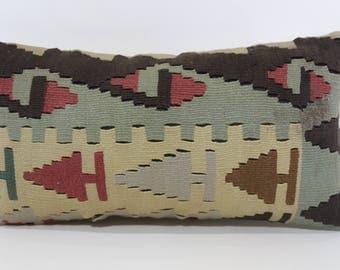 12x24 Anatolian Kilim Pillow Sofa Pillow 12x24 Turkish Kilim Pillow Geometric Kilim Pillow Decorative Kilim Pillow Cushion Cover SP3060-1146