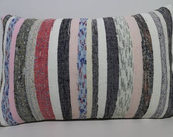 Decorative Kilim Pillow  16x24 Coton Kilim Pillow  Turkish Kilim Pillow Striped Kilim Pillow  Anatolian Kilim Pillow  SP4060-954