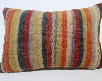 Multicolor Striped Kilim Pillow  Anatolian Kilim Pillow Decorative Kilim Pillow  16x24 Coton Kilim Pillow  Turkish Kilim Pillow  SP4060-969