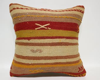 Anatolian Kilim Pillow Throw Pillow Boho Pillow 20x20 Large Kilim Pillow Striped Kilim Pillow Multicolor Kilim Pillow Cushions SP5050-2527