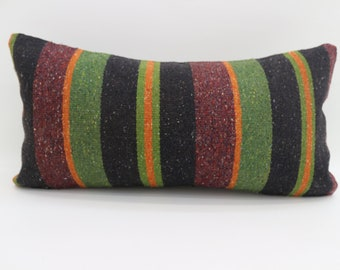 12x24 Red and Green Pillow Kilim Pillow Throw Pillow Boho Pillow Striped Kilim Pillow 12x24  Multicolor Pillow Cushion Cover SP3060-1750