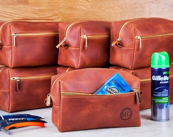 Father's Day, Leather Toiletry Bag Travel Shaving Dopp Kit with Monogram Gift for Man Groomsmen Groom Wedding Graduation Grad- 3 Sizes