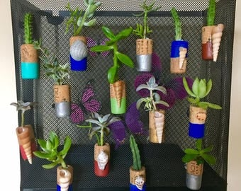 Two (2) Succulent / Cacti Wine Cork Magnetic Planters