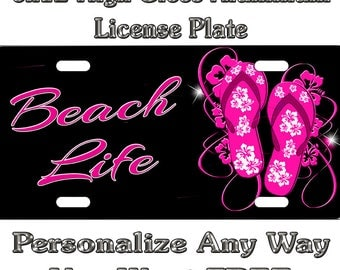 Flip Flops Pink Beach Salt Life Sign Custom Monogram License Plate Auto Car Tag Personalize Background Wallpaper Aluminum Novelty