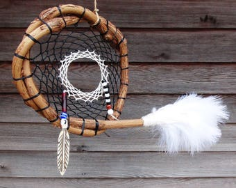 black & white Dream Catcher,grapevine dream catcher,handmade dream catcher,natural dream catcher,single dream catcher,feather dream catcher